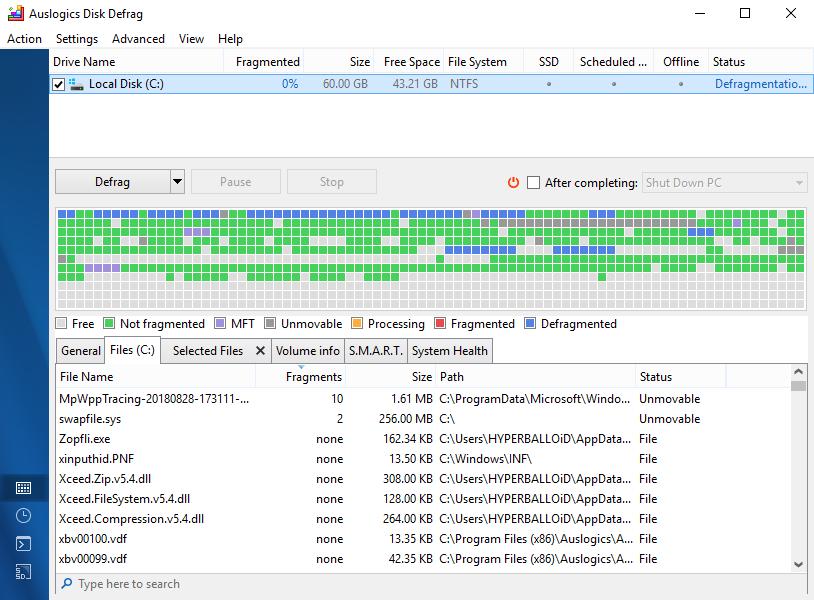 Auslogics Disk Defrag screenshot